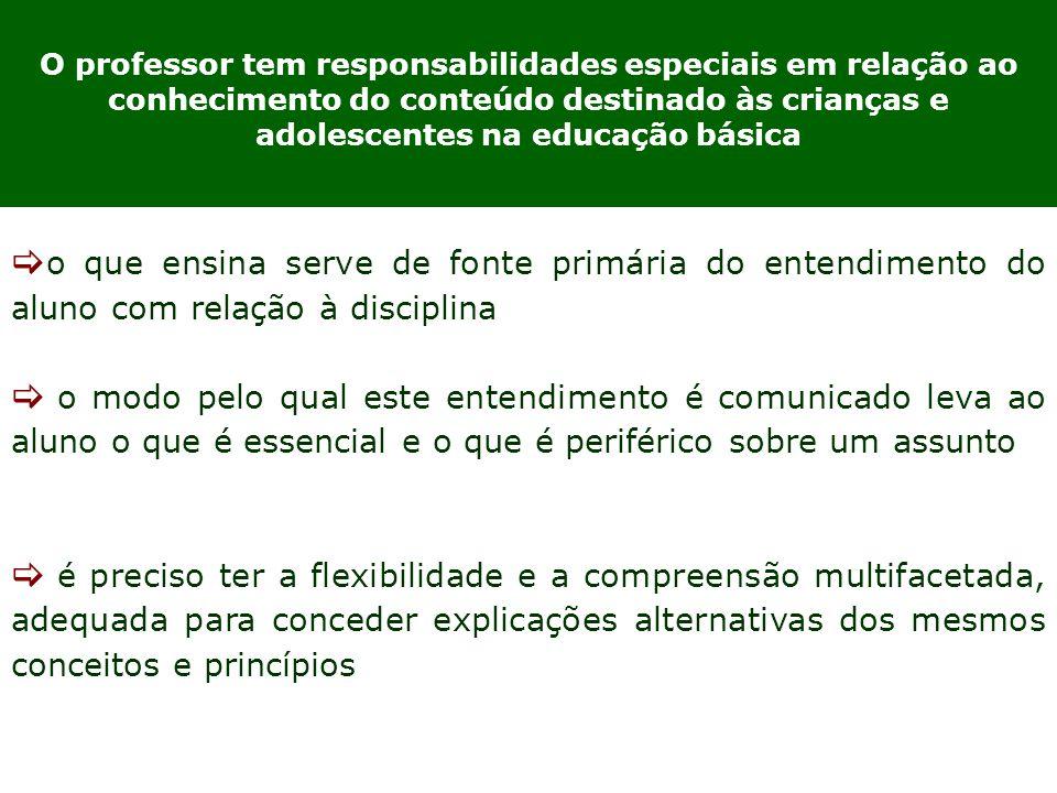 O professor tem responsabilidades especiais em relação ao conhecimento do conteúdo destinado às crianças e adolescentes na educação básica