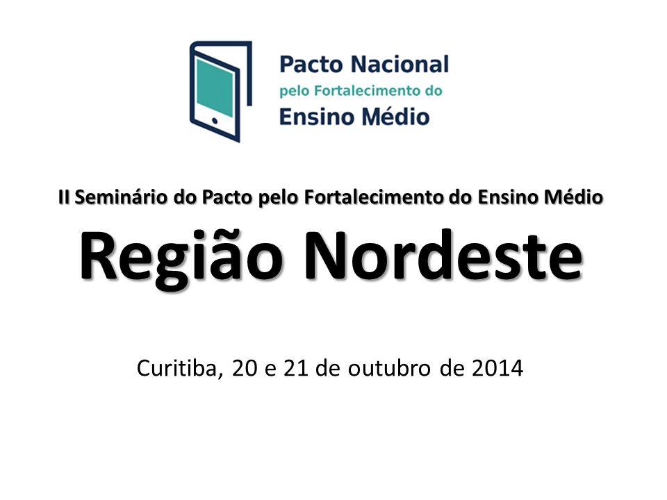 II Seminário do Pacto pelo Fortalecimento do Ensino Médio Região Nordeste Curitiba, 20 e 21 de outubro de 2014