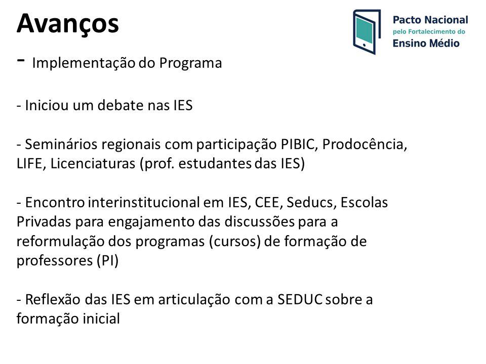Avanços - Implementação do Programa - Iniciou um debate nas IES - Seminários regionais com participação PIBIC, Prodocência, LIFE, Licenciaturas (prof.