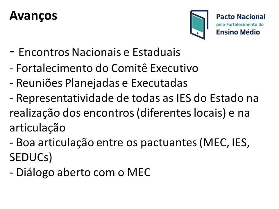Avanços - Encontros Nacionais e Estaduais - Fortalecimento do Comitê Executivo - Reuniões Planejadas e Executadas - Representatividade de todas as IES do Estado na realização dos encontros (diferentes locais) e na articulação - Boa articulação entre os pactuantes (MEC, IES, SEDUCs) - Diálogo aberto com o MEC