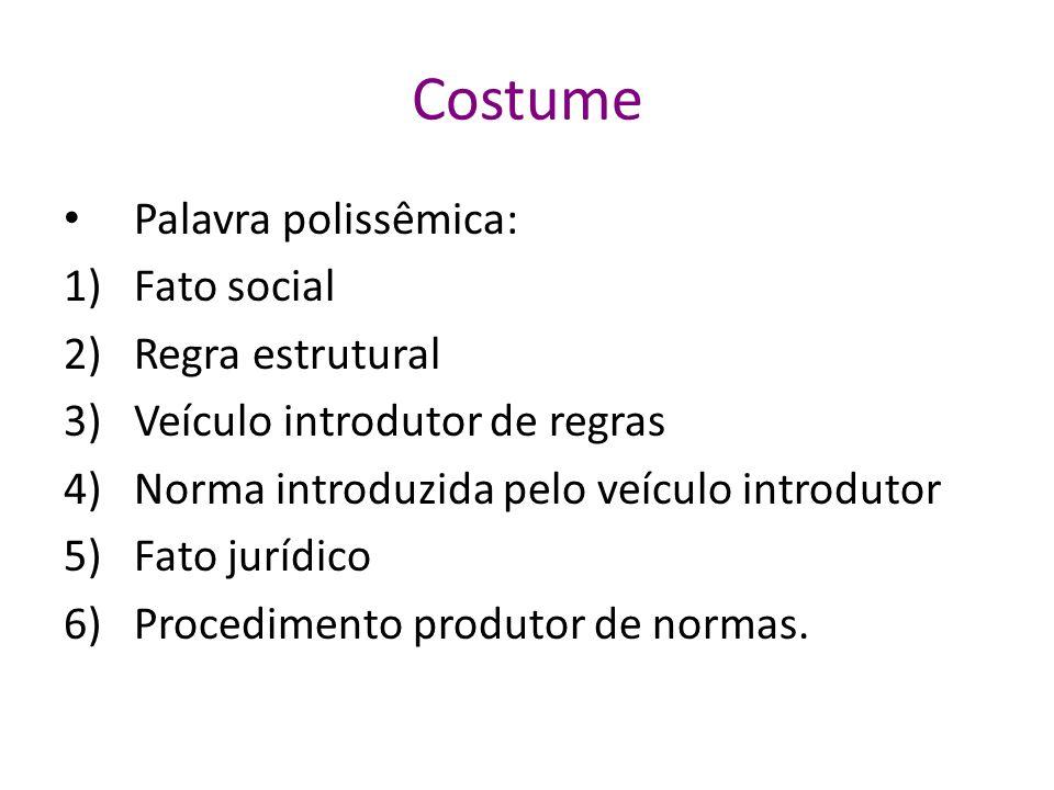 Costume Palavra polissêmica: Fato social Regra estrutural