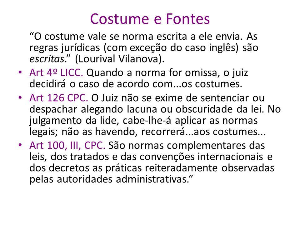 Costume e Fontes O costume vale se norma escrita a ele envia. As regras jurídicas (com exceção do caso inglês) são escritas. (Lourival Vilanova).