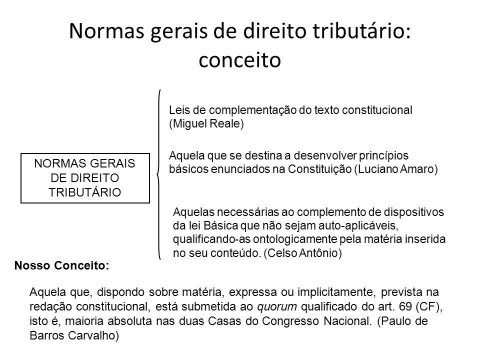 Normas gerais de direito tributário: conceito