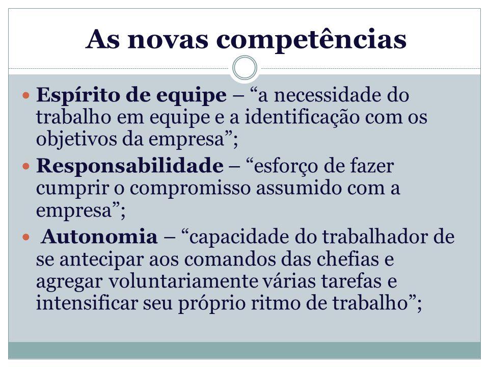 As novas competências Espírito de equipe – a necessidade do trabalho em equipe e a identificação com os objetivos da empresa ;