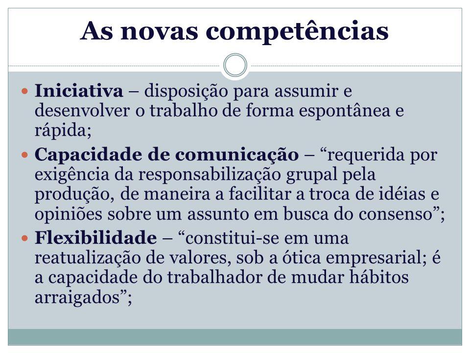 As novas competências Iniciativa – disposição para assumir e desenvolver o trabalho de forma espontânea e rápida;