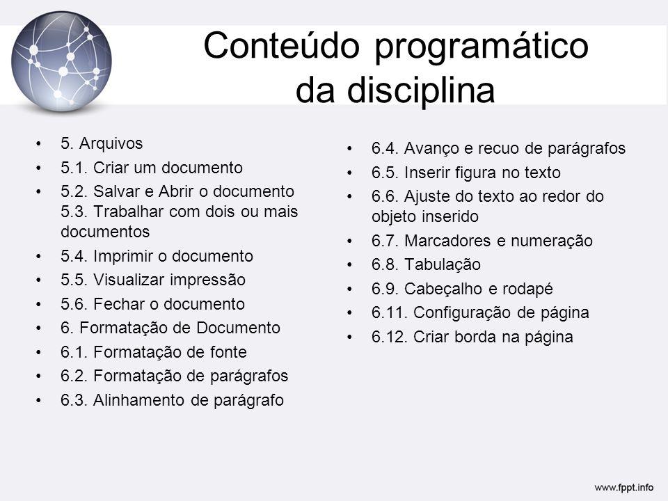 Conteúdo programático da disciplina