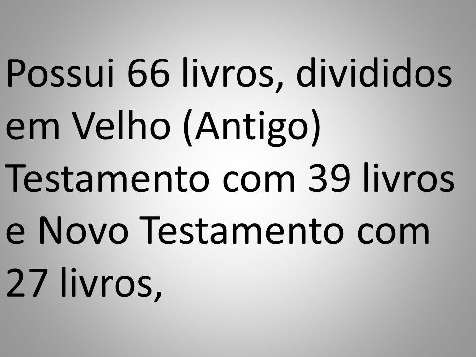 Possui 66 livros, divididos em Velho (Antigo) Testamento com 39 livros e Novo Testamento com 27 livros,