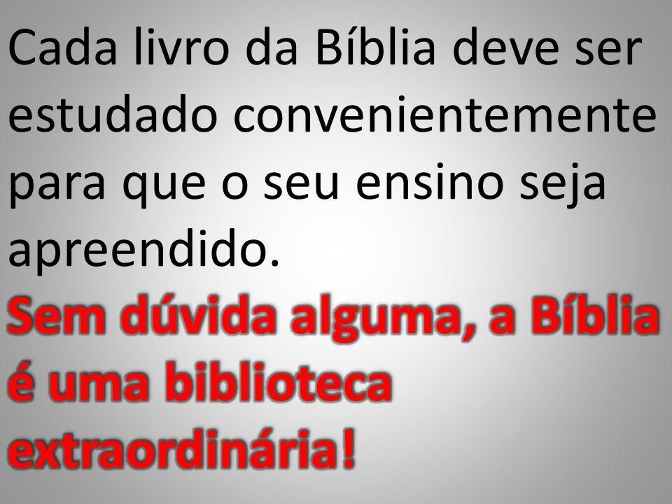 Cada livro da Bíblia deve ser estudado convenientemente para que o seu ensino seja apreendido.