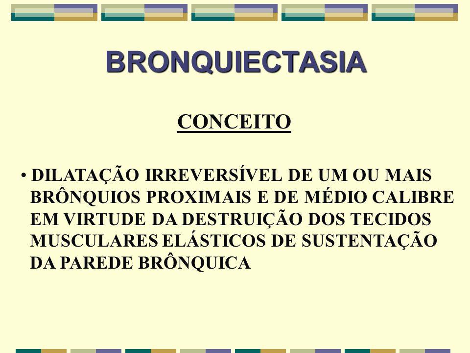 BRONQUIECTASIA CONCEITO DILATAÇÃO IRREVERSÍVEL DE UM OU MAIS