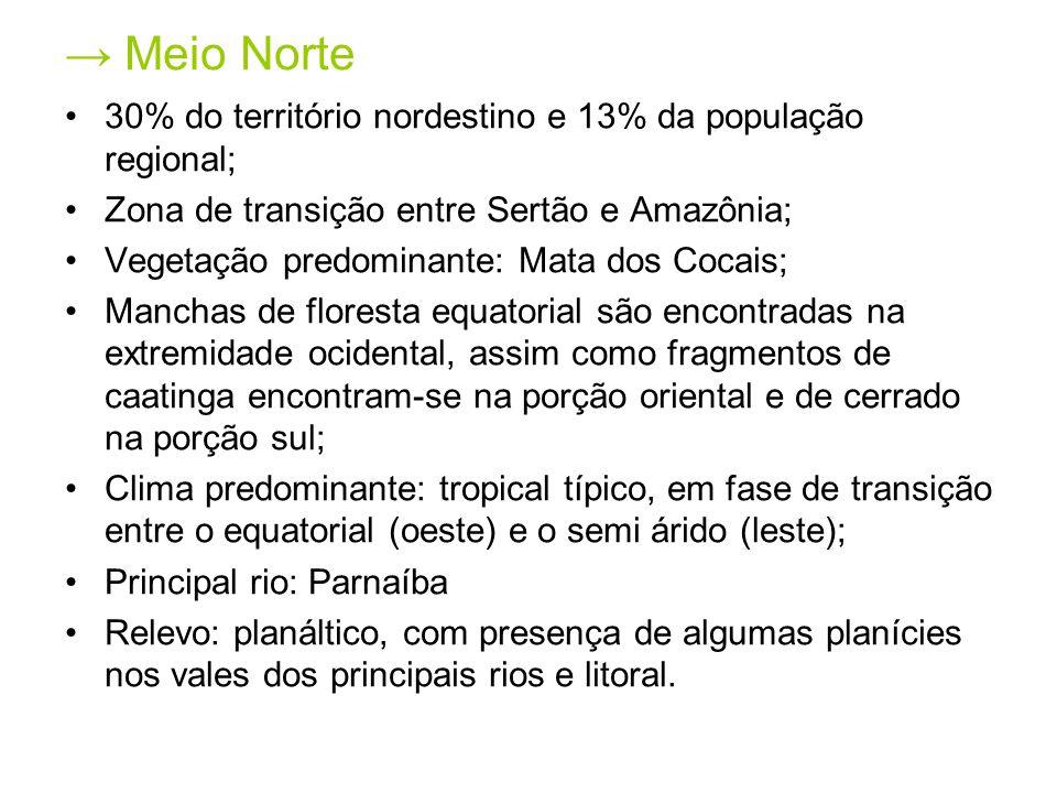 → Meio Norte 30% do território nordestino e 13% da população regional;