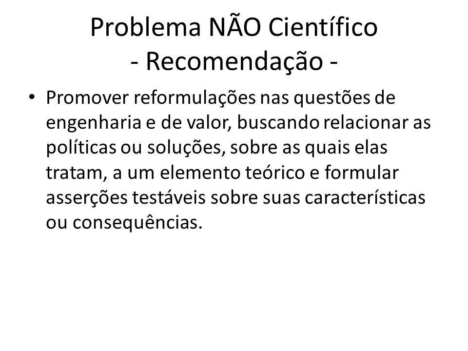 Problema NÃO Científico - Recomendação -