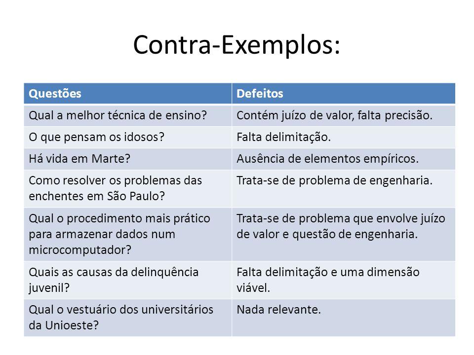 Contra-Exemplos: Questões Defeitos Qual a melhor técnica de ensino