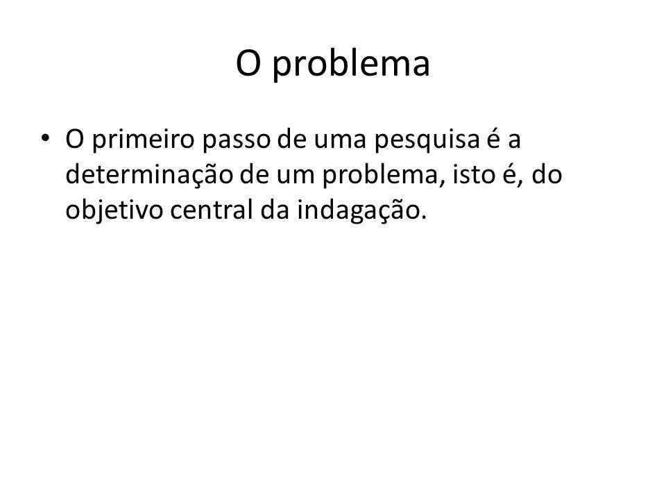 O problema O primeiro passo de uma pesquisa é a determinação de um problema, isto é, do objetivo central da indagação.