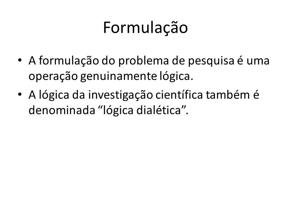 Formulação A formulação do problema de pesquisa é uma operação genuinamente lógica.