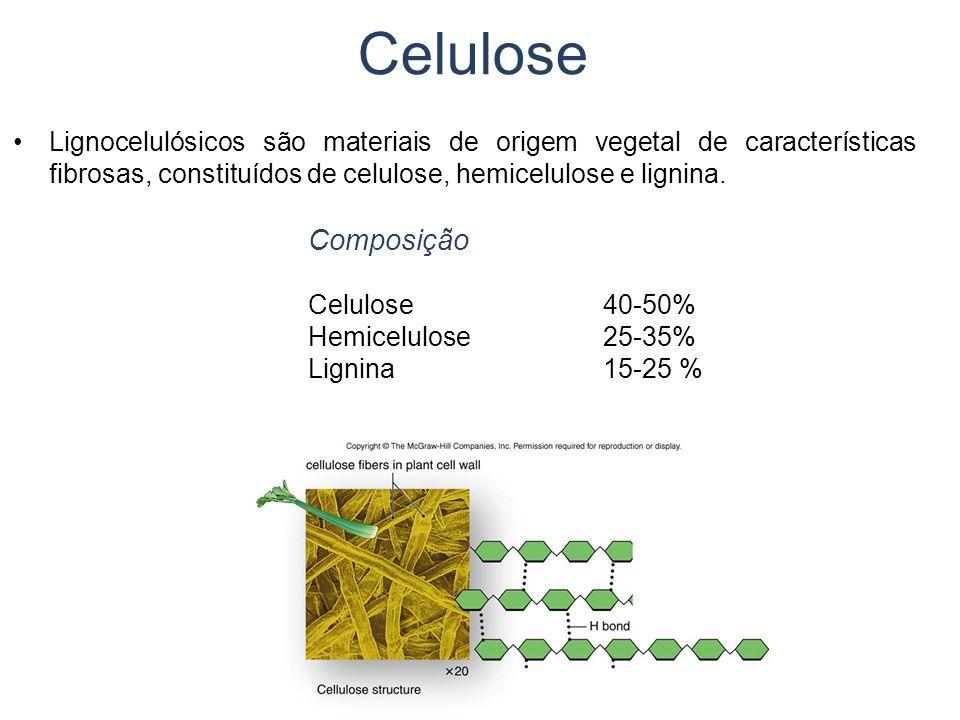 Celulose Lignocelulósicos são materiais de origem vegetal de características fibrosas, constituídos de celulose, hemicelulose e lignina.