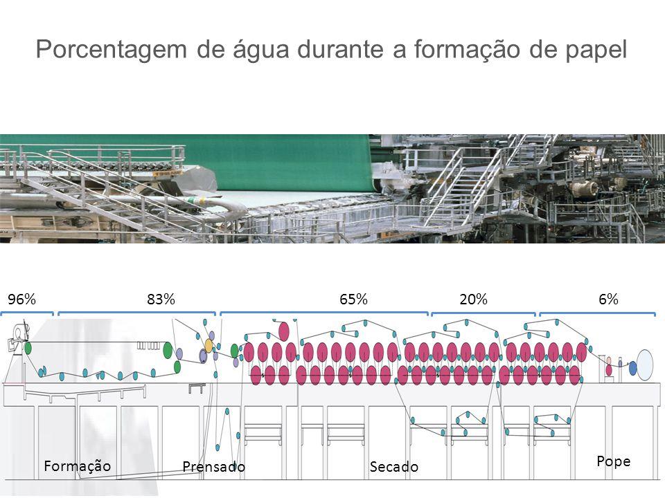 Porcentagem de água durante a formação de papel