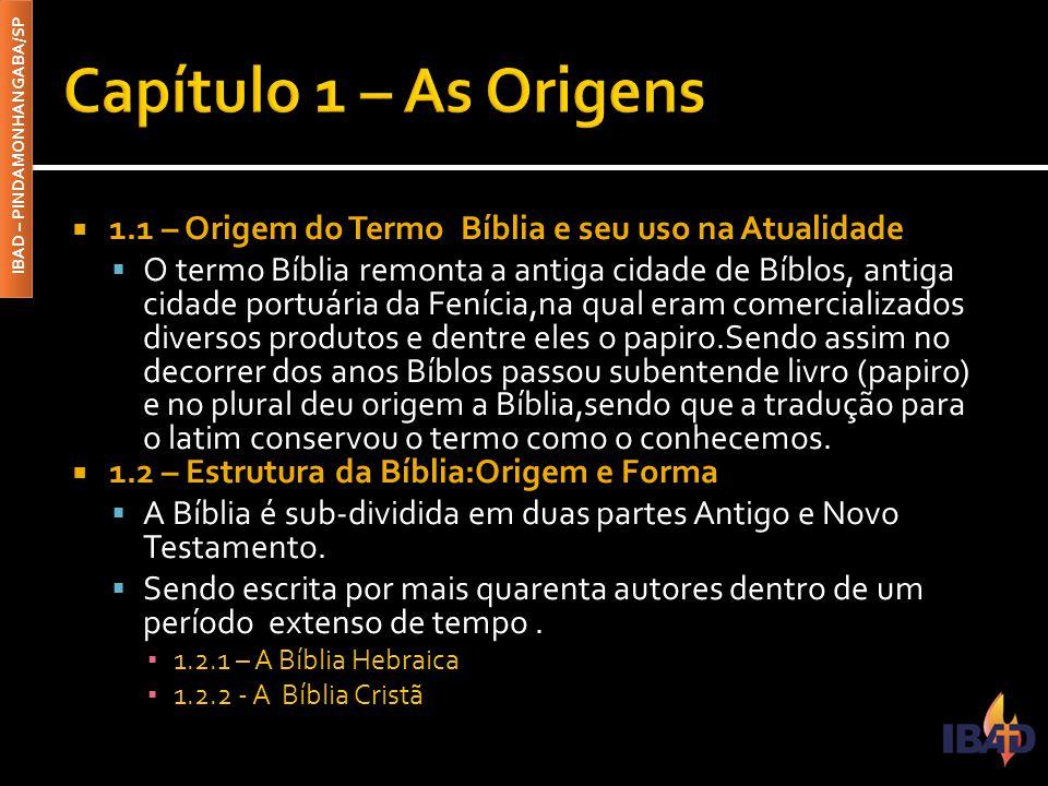 Capítulo 1 – As Origens 1.1 – Origem do Termo Bíblia e seu uso na Atualidade.