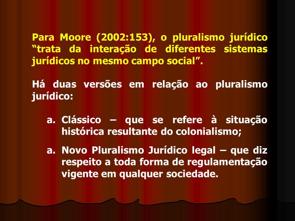 Para Moore (2002:153), o pluralismo jurídico trata da interação de diferentes sistemas jurídicos no mesmo campo social .