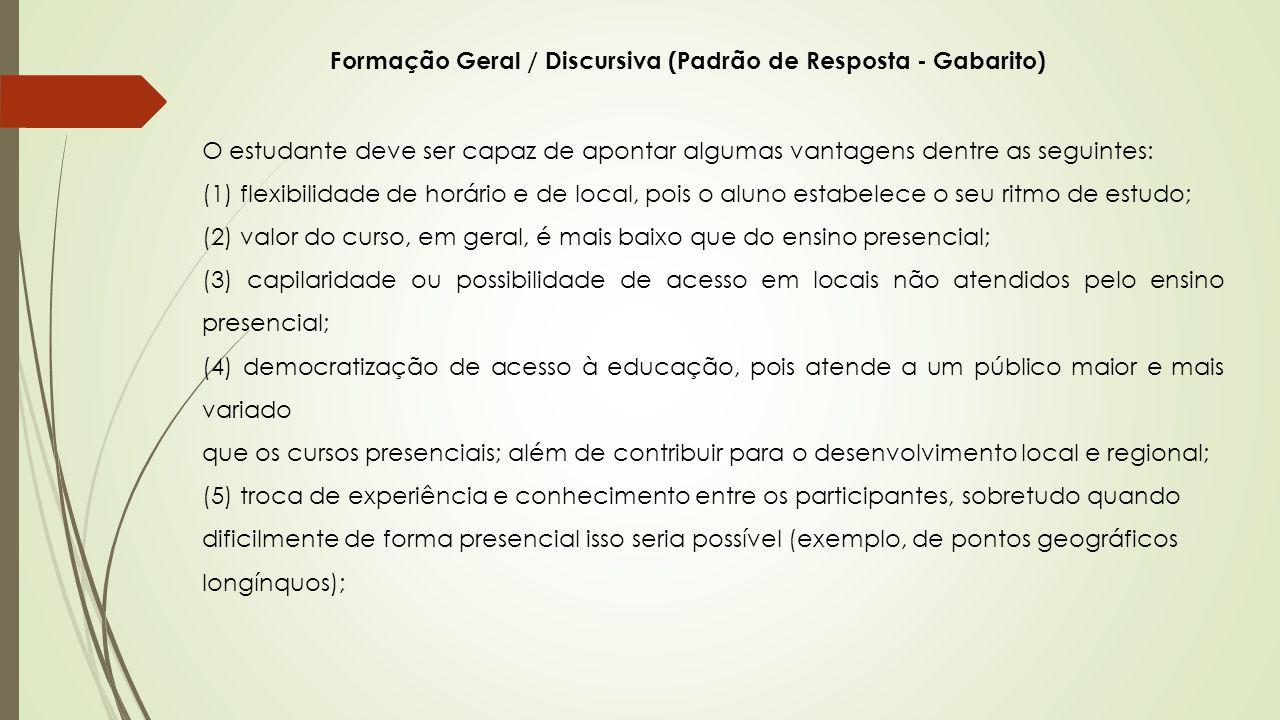 Formação Geral / Discursiva (Padrão de Resposta - Gabarito)
