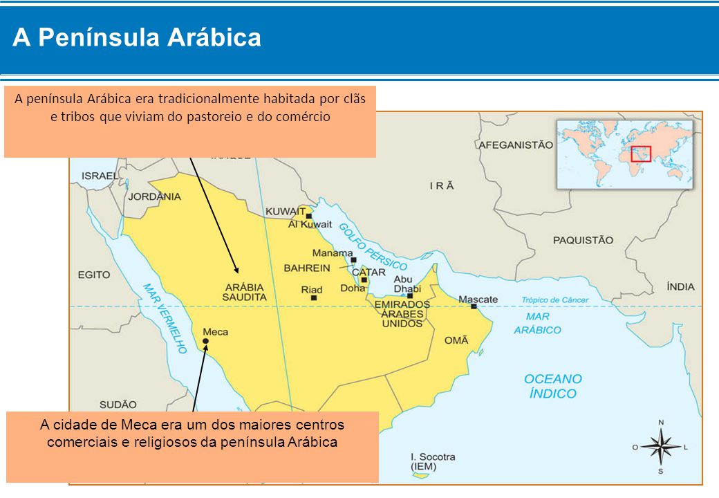 A Península Arábica A península Arábica era tradicionalmente habitada por clãs e tribos que viviam do pastoreio e do comércio.