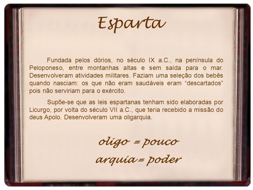 Esparta oligo = pouco arquia = poder