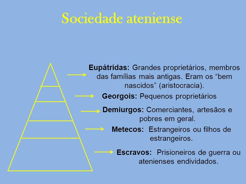 Sociedade ateniense Eupátridas: Grandes proprietários, membros das famílias mais antigas. Eram os bem nascidos (aristocracia).