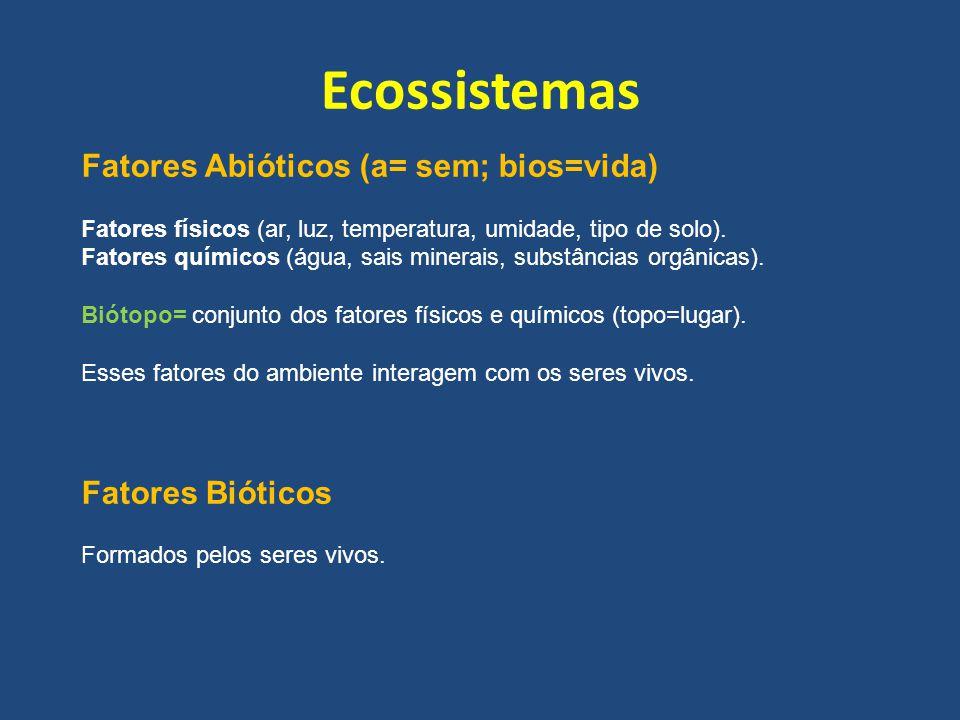 Ecossistemas Fatores Abióticos (a= sem; bios=vida) Fatores Bióticos