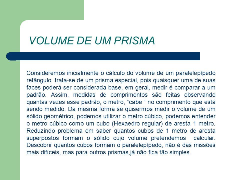 VOLUME DE UM PRISMA