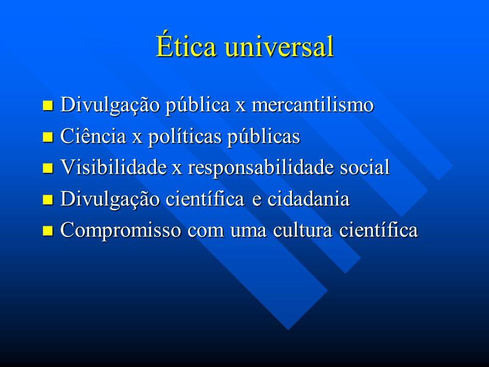 Ética universal Divulgação pública x mercantilismo
