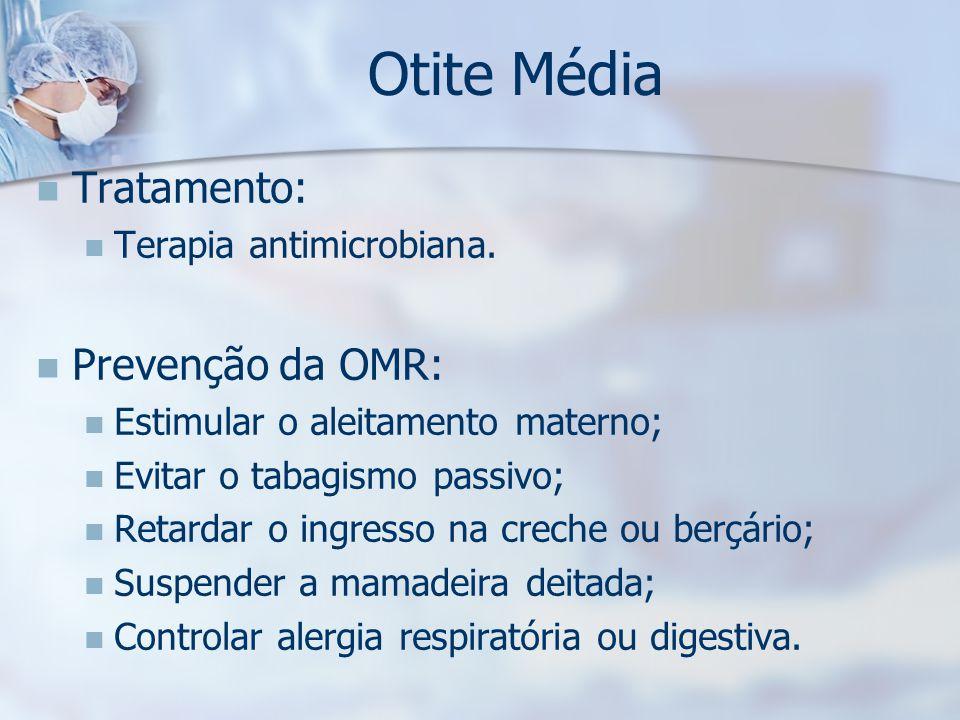 Otite Média Tratamento: Prevenção da OMR: Terapia antimicrobiana.