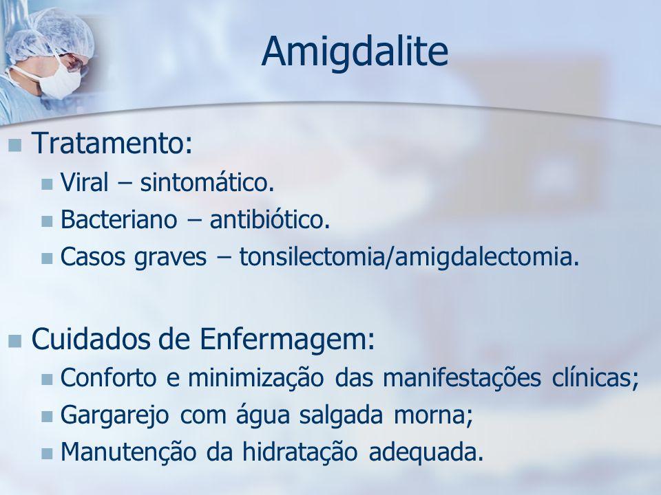Amigdalite Tratamento: Cuidados de Enfermagem: Viral – sintomático.