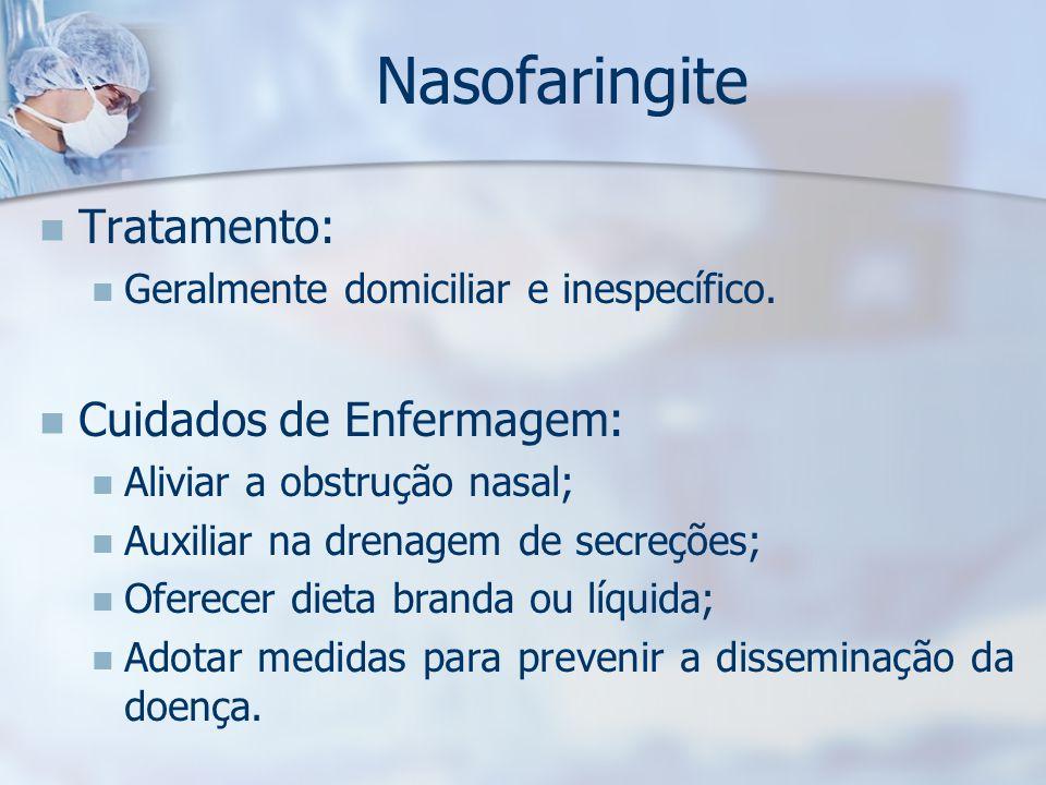 Nasofaringite Tratamento: Cuidados de Enfermagem: