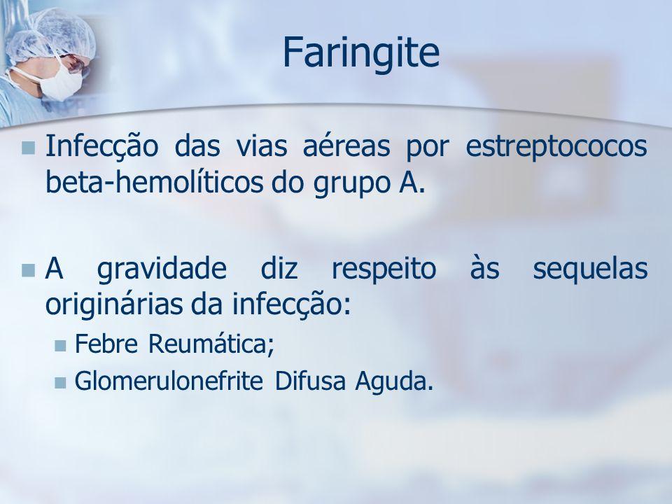 Faringite Infecção das vias aéreas por estreptococos beta-hemolíticos do grupo A. A gravidade diz respeito às sequelas originárias da infecção: