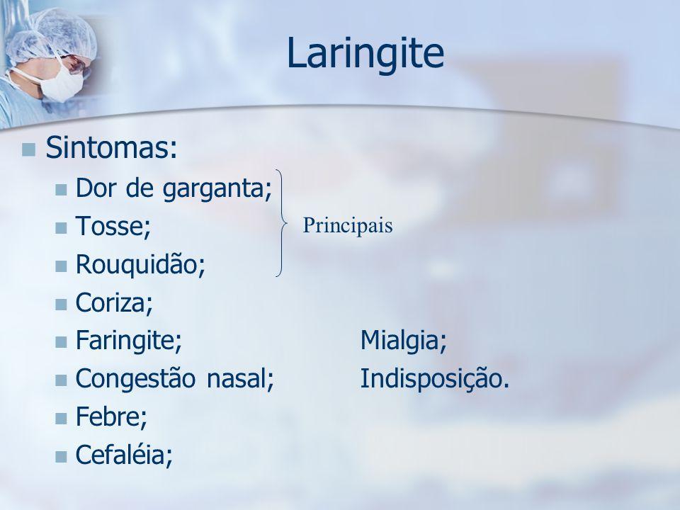 Laringite Sintomas: Dor de garganta; Tosse; Rouquidão; Coriza;