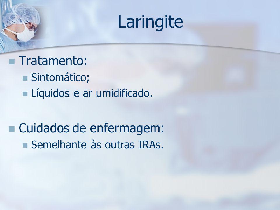 Laringite Tratamento: Cuidados de enfermagem: Sintomático;