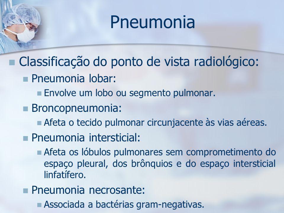 Pneumonia Classificação do ponto de vista radiológico: