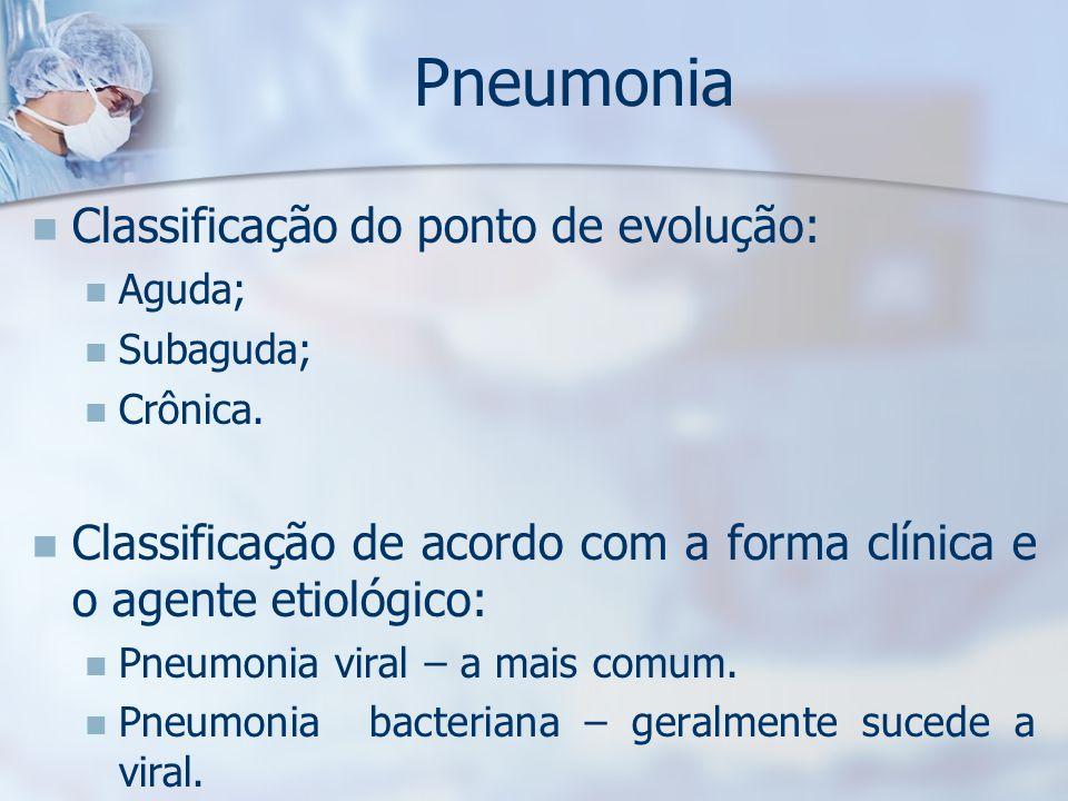 Pneumonia Classificação do ponto de evolução: