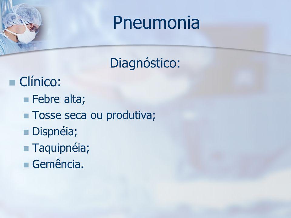 Pneumonia Diagnóstico: Clínico: Febre alta; Tosse seca ou produtiva;