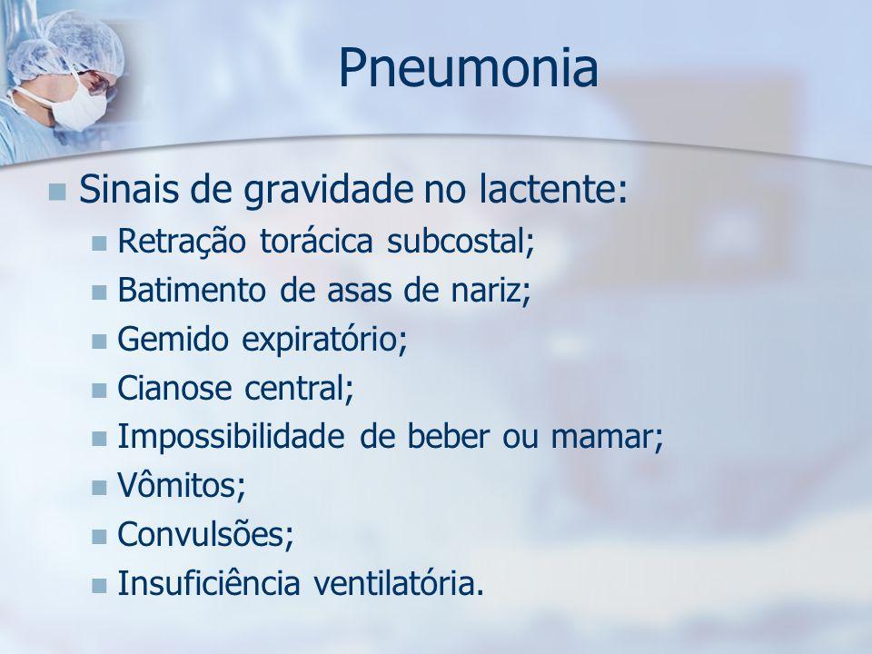Pneumonia Sinais de gravidade no lactente: