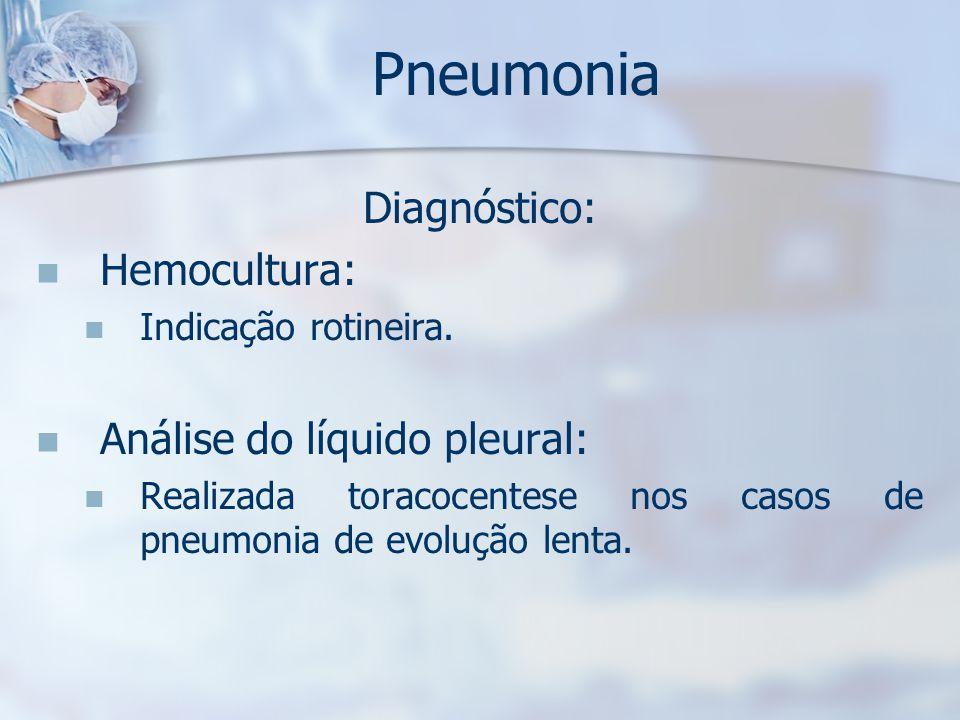 Pneumonia Diagnóstico: Hemocultura: Análise do líquido pleural: