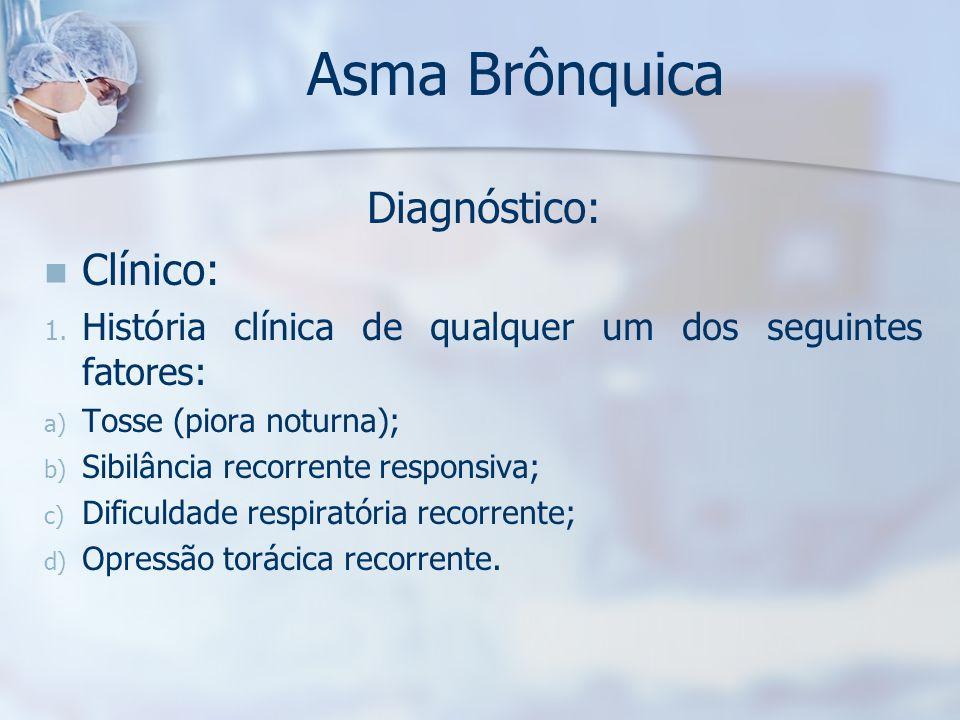Asma Brônquica Diagnóstico: Clínico:
