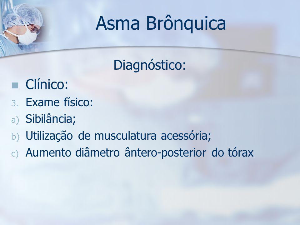 Asma Brônquica Diagnóstico: Clínico: Exame físico: Sibilância;