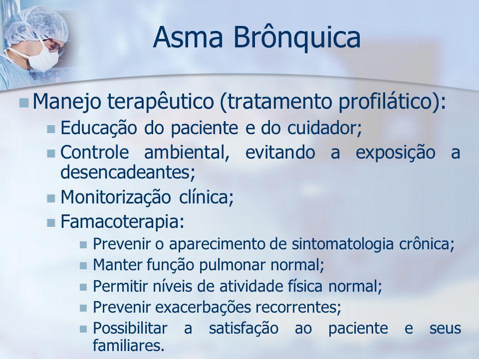 Asma Brônquica Manejo terapêutico (tratamento profilático):