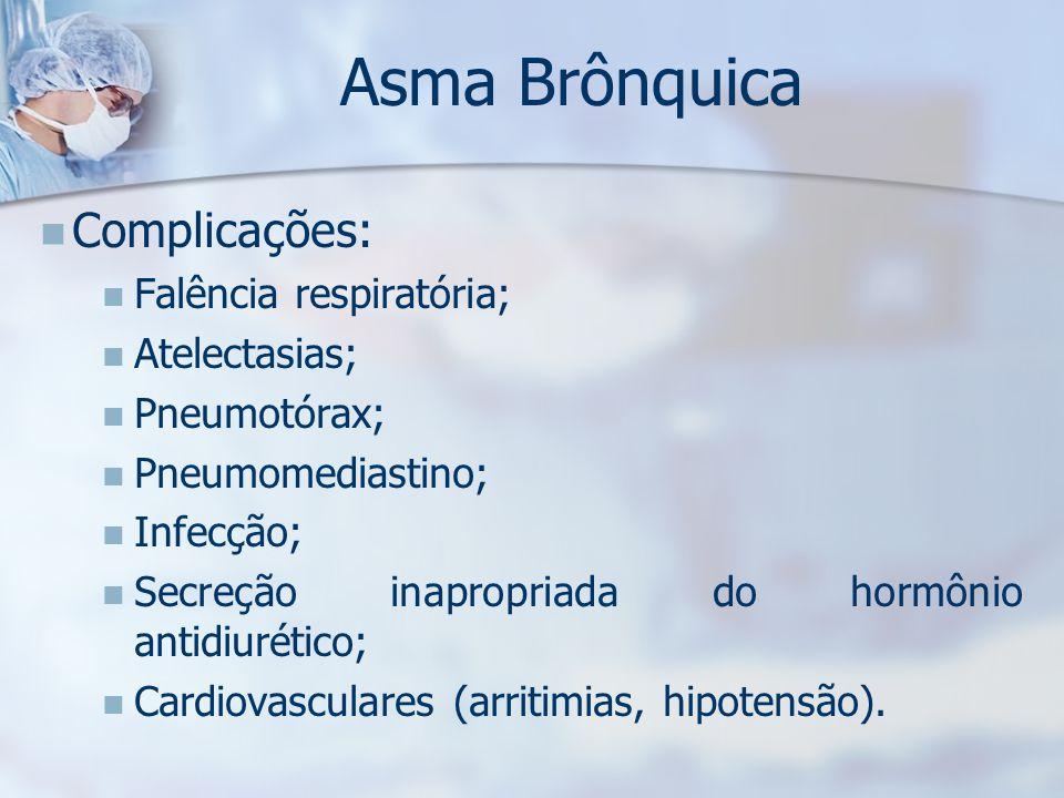 Asma Brônquica Complicações: Falência respiratória; Atelectasias;