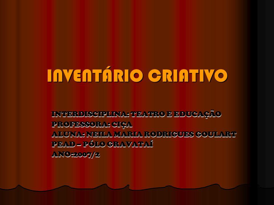 INVENTÁRIO CRIATIVO INTERDISCIPLINA: TEATRO E EDUCAÇÃO