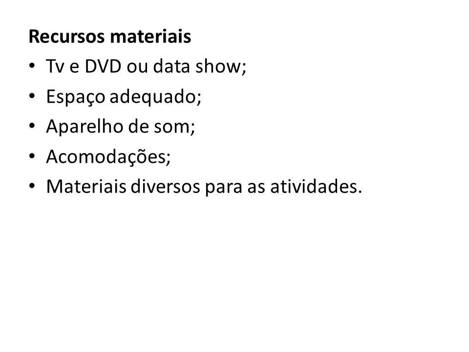 Recursos materiais Tv e DVD ou data show; Espaço adequado; Aparelho de som; Acomodações; Materiais diversos para as atividades.