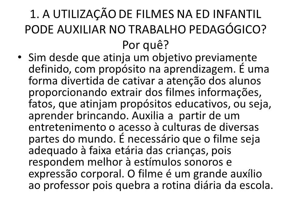 1. A UTILIZAÇÃO DE FILMES NA ED INFANTIL PODE AUXILIAR NO TRABALHO PEDAGÓGICO Por quê