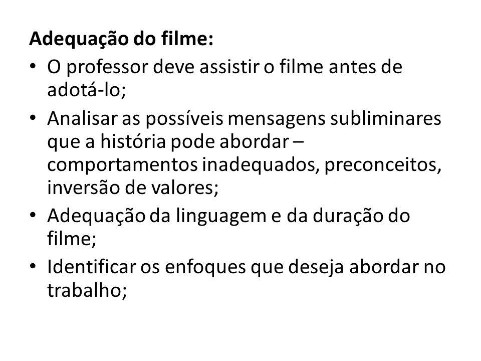 Adequação do filme: O professor deve assistir o filme antes de adotá-lo;