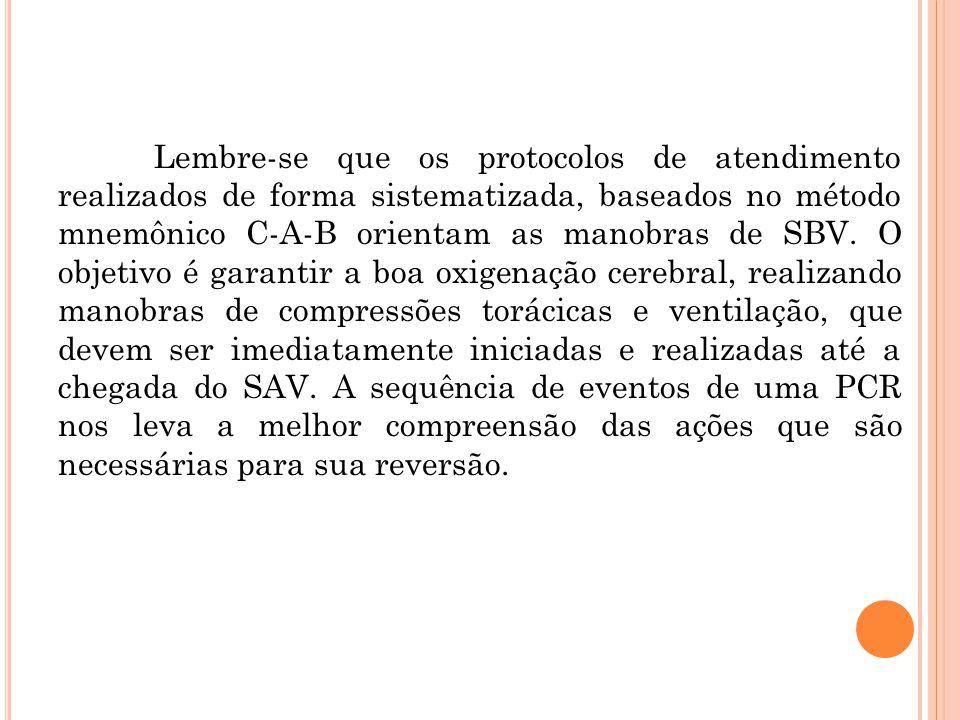 Lembre-se que os protocolos de atendimento realizados de forma sistematizada, baseados no método mnemônico C-A-B orientam as manobras de SBV.