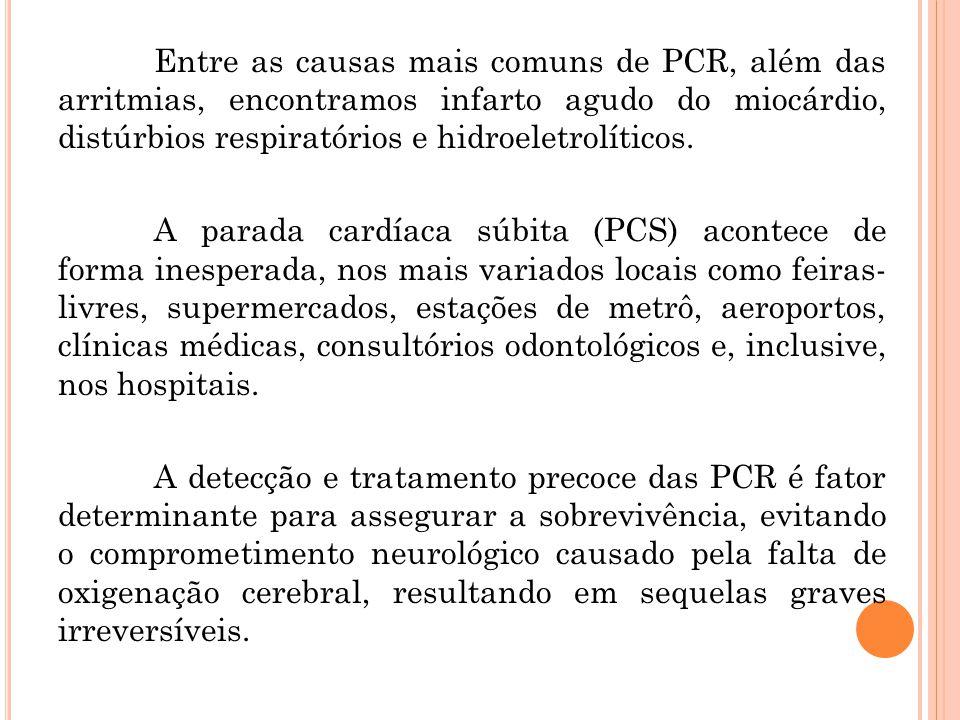 Entre as causas mais comuns de PCR, além das arritmias, encontramos infarto agudo do miocárdio, distúrbios respiratórios e hidroeletrolíticos.